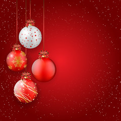 Shiny christmas balls on red background - place for your text