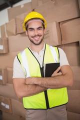 Portrait of worker in warehouse