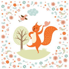 Greeting card, squirell  dances,  vector illustration