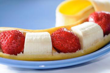 Banana and streawberry