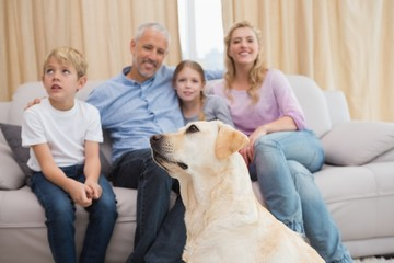 Parents and their children on sofa with puppy