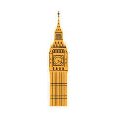 London Big Ben Tower isolated on white.