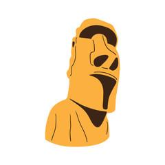 Easter island Moai statue isolated on white.