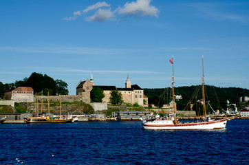 Two ships sailing in the Oslo fjord Akershus