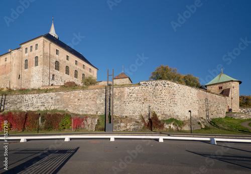 Aluminium Walls of Oslo Akershus Fortress at late autumn