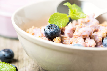 Cereal with blueberry close up