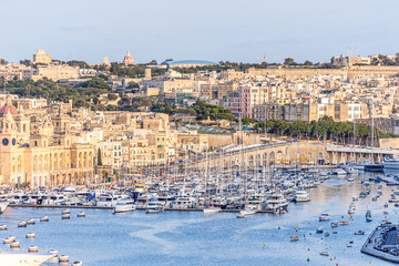 Valletta Skyline with marina at sunset