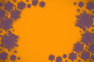 Purple snowflake design on orange
