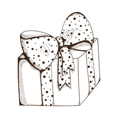 Present box with decorative bow.
