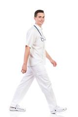 Male nurse walking