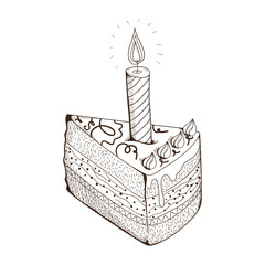Piece of holiday cake with candle.
