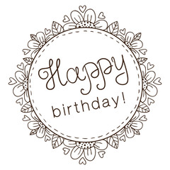 Decorative badge with greeting text for birthday.