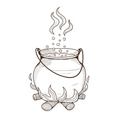 Witch kettle with potion.