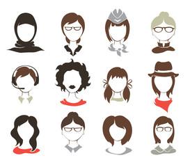 Set illustrations -- female avatars