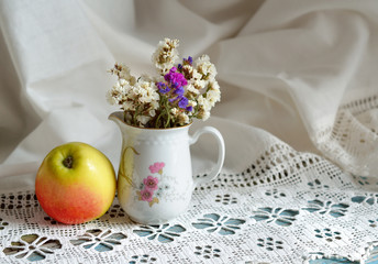 Still life with Limonium and apple