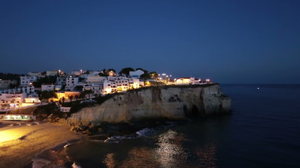 The village Carvoeiro in the Algarve Portugal by night