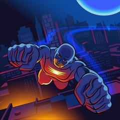 Superhero flying over city.