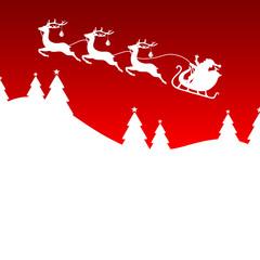 Christmas Sleigh Santa 3 Reindeers Red