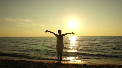 Young woman with arms outstretched looking to a sea