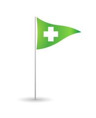 Flag with a pharmacy sign