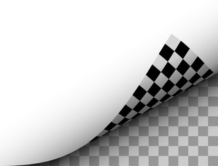 Blank Paper Sheet with Checkered Page Curl, Black White Vector