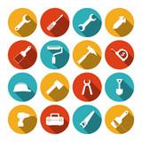 Tools flat icons set poster