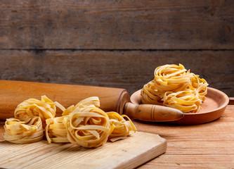 Homemade italian pasta fettuccine