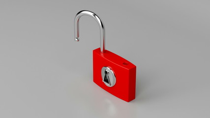 Red padlock on gray background, unlocking and locking