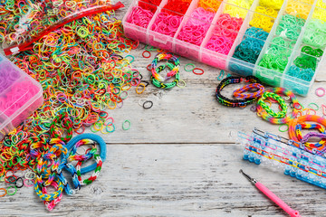Colorful elastic loom bands