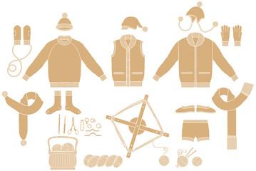 ニットの衣料品と手編みの道具