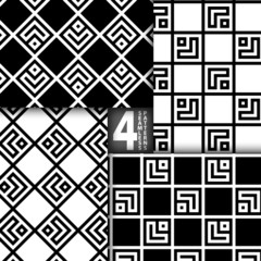 Simple Square Based Black White Vector Seamless Pattern