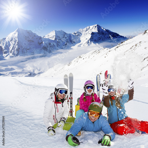 canvas print picture Skiing. Skiers enjoying winter vacation