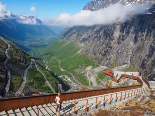 Viewpoint over Trolls' Path - serpentine mountain road in Norway