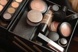 Set of professional make-up palette poster