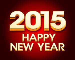Happy New Year 2015 gold poster