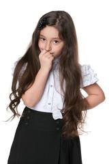 Pensive fashion young girl