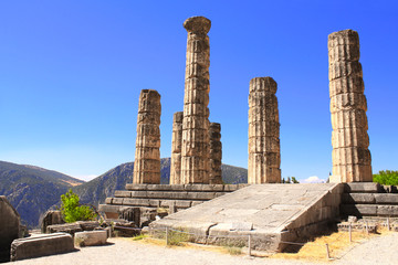Ruins of Temple of Apollo in Delphi, Greece