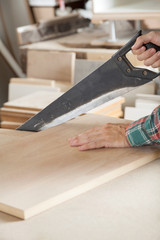 Cropped Image Of Carpenter Cutting Wood With Handsaw