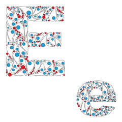 Letter E. Bright element alphabet. ABC element in vector.