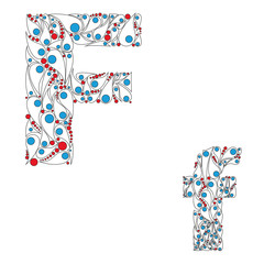 Letter F. Bright element alphabet. ABC element in vector.