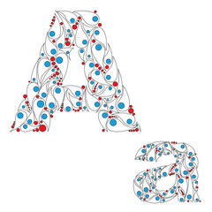 Letter A. Bright element alphabet. ABC element in vector.