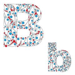 Letter B. Bright element alphabet. ABC element in vector.
