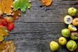 canvas print picture - Herbstblätter und Quitten