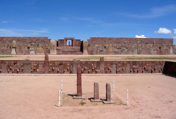 Tiwanaku ruins - pre-Inca Kalasasaya temple & Kontiki monolith