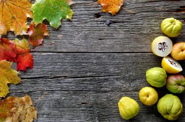 Herbstblätter und Quitten