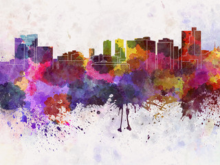 Fort Worth skyline in watercolor background