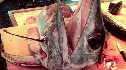 Swordfish head at the Catania fish market. Sicily