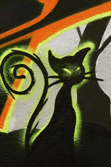 Colorful murals of the black cat