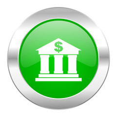 bank green circle chrome web icon isolated