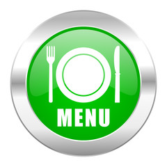 menu green circle chrome web icon isolated